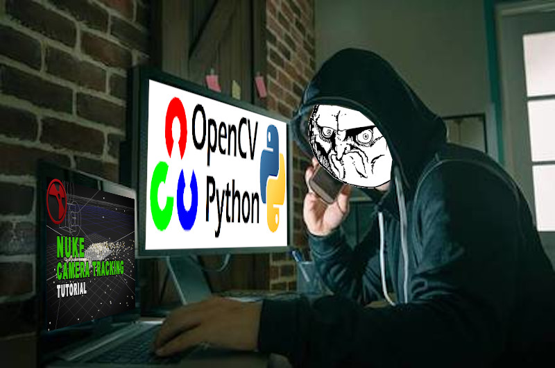 Blog header: stock footage hacker with angry meme face facing computer with opencv and python